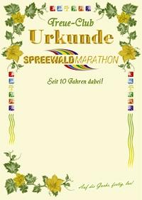Urkunde für alle Spreewaldmarathon Treueclub-Mitglieder